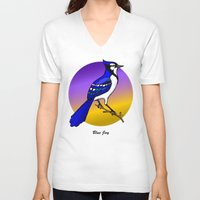 jay fleck V-neck T-shirts featuring BLUE JAY by SCREAMNJIMMY