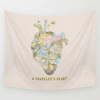 jackalope Wall Tapestries featuring A Traveler's Heart by Bianca Green