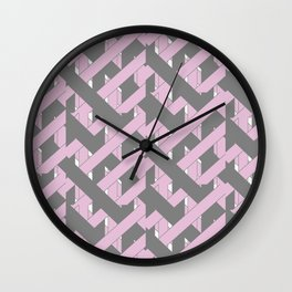 Purple and Grey Abstract Woven Grid Design Wall Clock