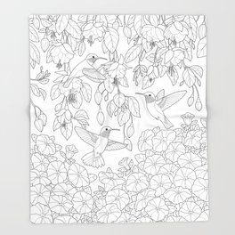 Hummingbirds and Flowers Coloring Page Throw Blanket