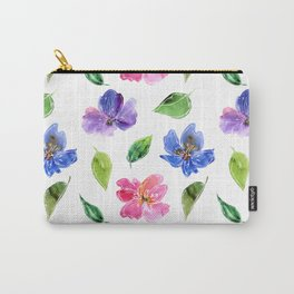 Blue, pink flowers. Watercolor florals. Botany. Carry-All Pouch