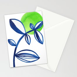 Blue and lime green minimalist leaves Stationery Cards