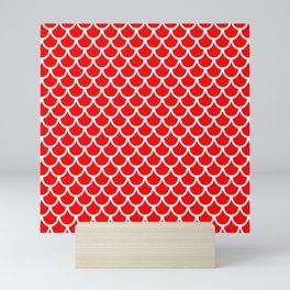 Scales (White & Red Pattern) Mini Art Print