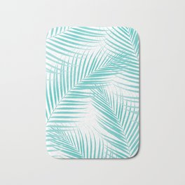 Soft Turquoise Palm Leaves Dream - Cali Summer Vibes #2 #tropical #decor #art #society6 Bath Mat