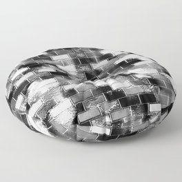 BRICK WALL SMUDGED (Black, White & Grays) Floor Pillow