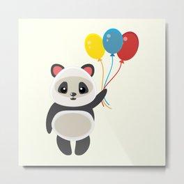 Cute panda holding balloons cartoon Metal Print