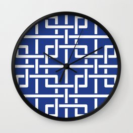 Tangled squares Chinoiserie in blue & white Wall Clock