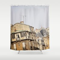 buildings Shower Curtains featuring Parisian buildings by Eves Eye | Picture Perfect