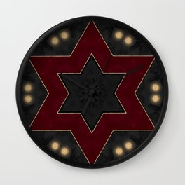 Deep Red Black and Gold Star Pattern Wall Clock