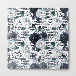 Navy Blue Boho Floral with Herringbone Print Metal Print
