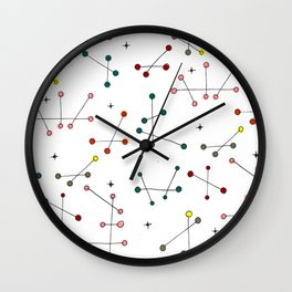 Tongle Pattern Mid Century Inspired Illustration Wall Clock