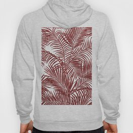 Tropical marsala red faux glitter palm tree pattern Hoody