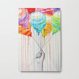 Balloons Watercolor Metal Print