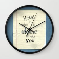 home sweet home Wall Clocks featuring Home by Brandy Coleman Ford