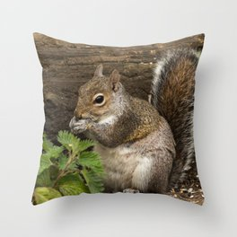 squirrel woodland animal Throw Pillow
