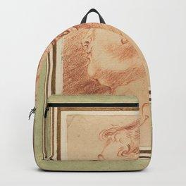 Antoine Watteau - Study of Woman's Head (1720s) Backpack