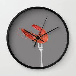 fork with shrimps grey Wall Clock