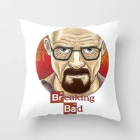 walter white Throw Pillows featuring Walter White  by gunberk