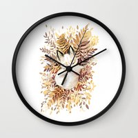 fox Wall Clocks featuring Slumber by Freeminds