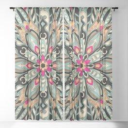 Tribal Geometric brown and green Mandala Sheer Curtain