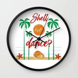 Shell We Dance Beach Vacation Seashell Wall Clock