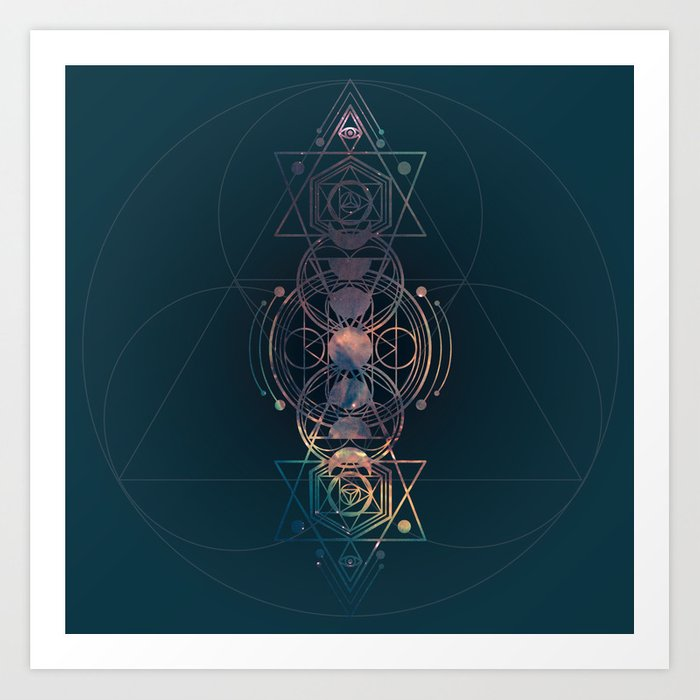 Dark Moon Phase Nebula Totem Kunstdrucke