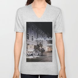 Winter Horse Carriage Ride (Color) Unisex V-Neck