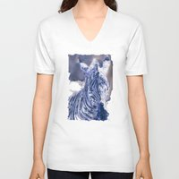 oil V-neck T-shirts featuring Zebra Oil by Heidi Fairwood