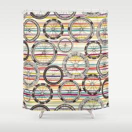 bike wheels stripe Shower Curtain