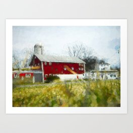 Red Barn 4 #painting Art Print