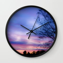 Cotton Candy Sunset Behind a Tree Wall Clock