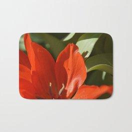 Red spring flower & green leaves Bath Mat