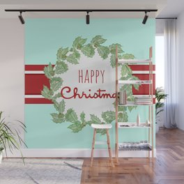 Happy Christmas striped holiday Wall Mural