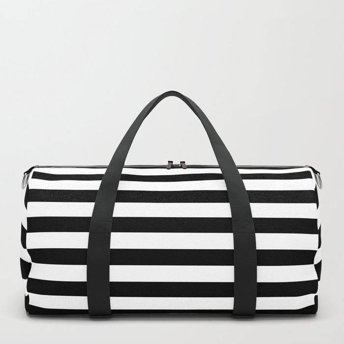 Midnight Black and White Horizontal Deck Chair Stripes Duffle Bag