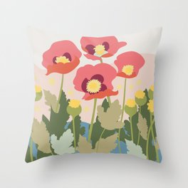 Poppies in the Fields, modern art design, wall art, poster Throw Pillow