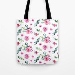 Blush pink green watercolor modern floral pattern Tote Bag