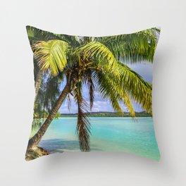 Palm Trees on the Beach Throw Pillow