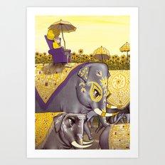 Elephant Procession Art Print