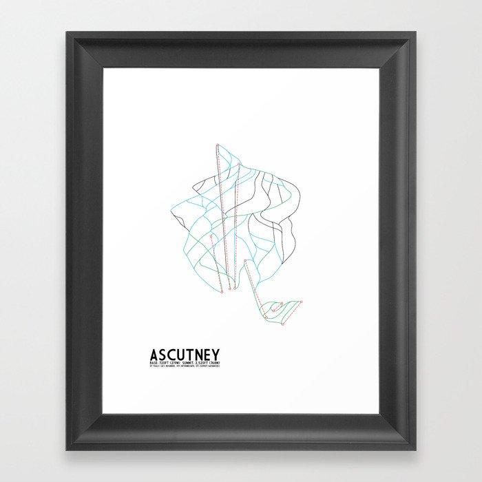 Ascutney, VT - Minimalist Winter Trail Art Gerahmter Kunstdruck
