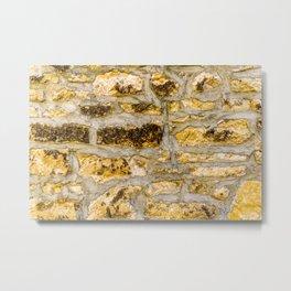 Stone Wall Structure (medium, yellow) Metal Print