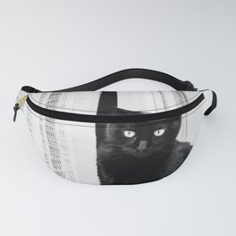 Black Cat at The Window - Black and White #decor #society6 #buyart Fanny Pack