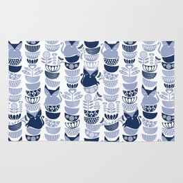 Swedish folk cats III // white background pale and navy blue kitties & bowls Rug