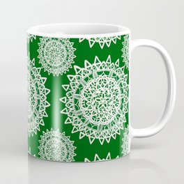 Emerald Green and Silver Patterned Mandalas Coffee Mug