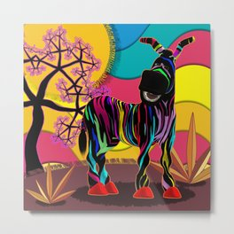 Zapped Zebra Zing and his Quirky Smile Metal Print
