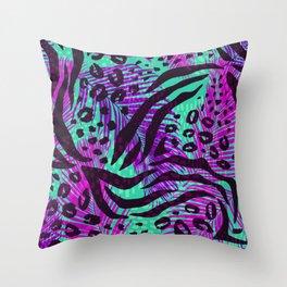 purple teal floral animal print Throw Pillow