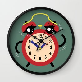 Dancing Red Alarm, Time Is Running Out Green BG Wall Clock