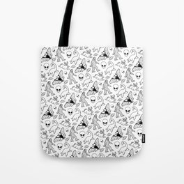 Cryptid Lineart Pattern 2 (White) Tote Bag
