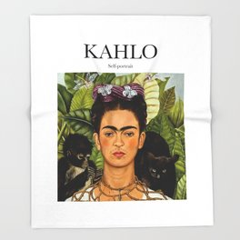 Kahlo - Self-portrait Throw Blanket