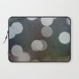 Charcoal Gray and Cream Bokeh Dots Pattern Laptop Sleeve