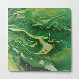 Green Mountain Stream - Forest Scene Abstract Art Metal Print